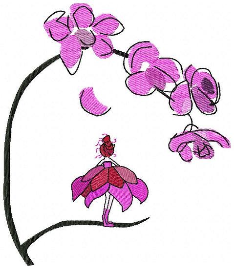 broderie selon dessin orchidée petite fille