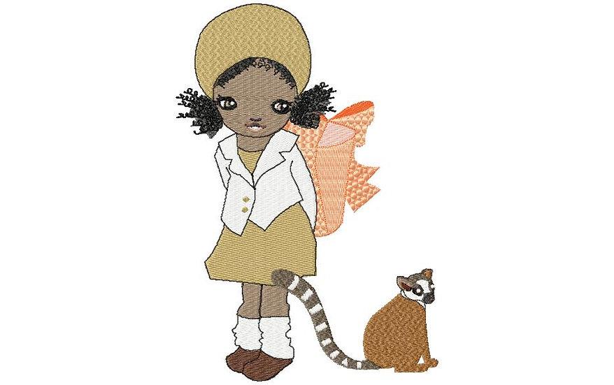 petite fille lémurien