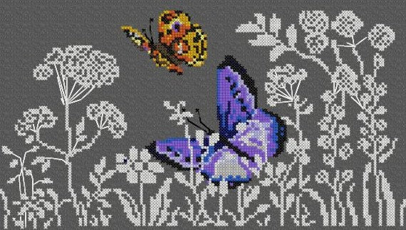 frise papillon herbes folles