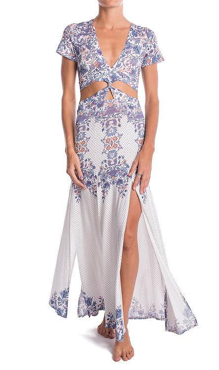 Flower Batik Twisted Dress