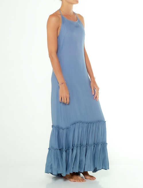 Dusty Blue Halter Dress