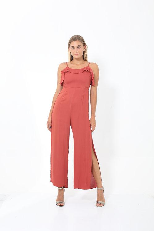 Crimson Side Split Jumpsuit