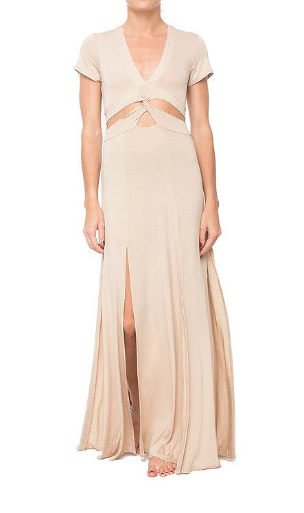 Beige Twisted Dress