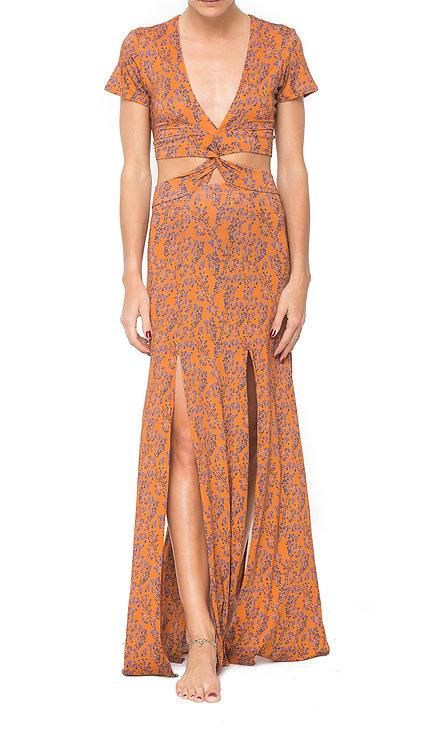 Wild Flower Orange Twisted Dress