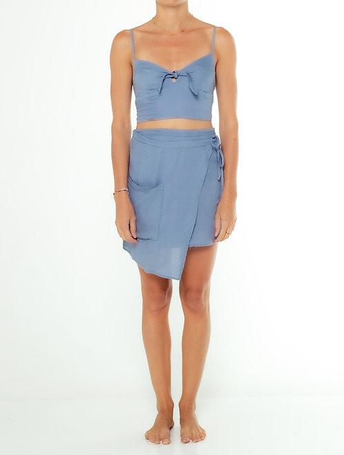 Dusty Blue Mini Wrap Skirt