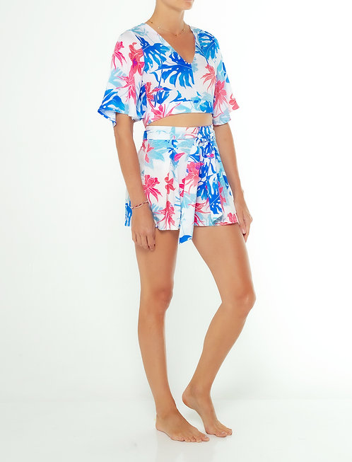 Tropical Blue Back Tie Top