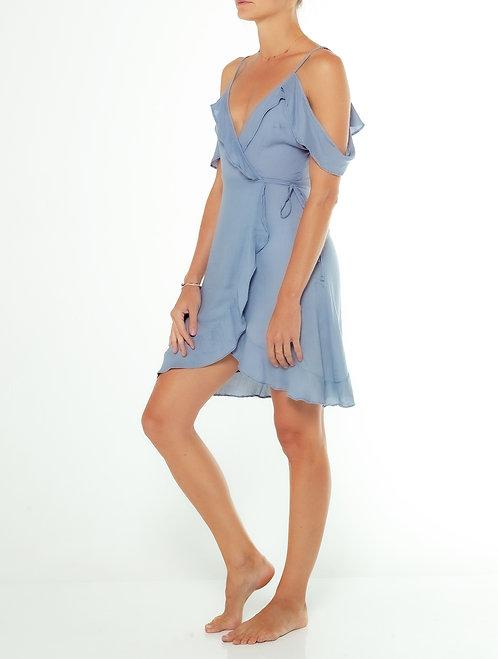 Dusty Blue Cold Shoulder Dress