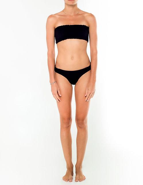 Black Shirred Bikini Top