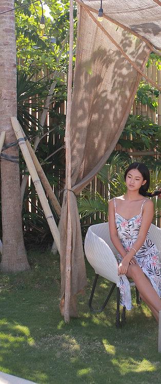 Flower Peach Side Split Dress