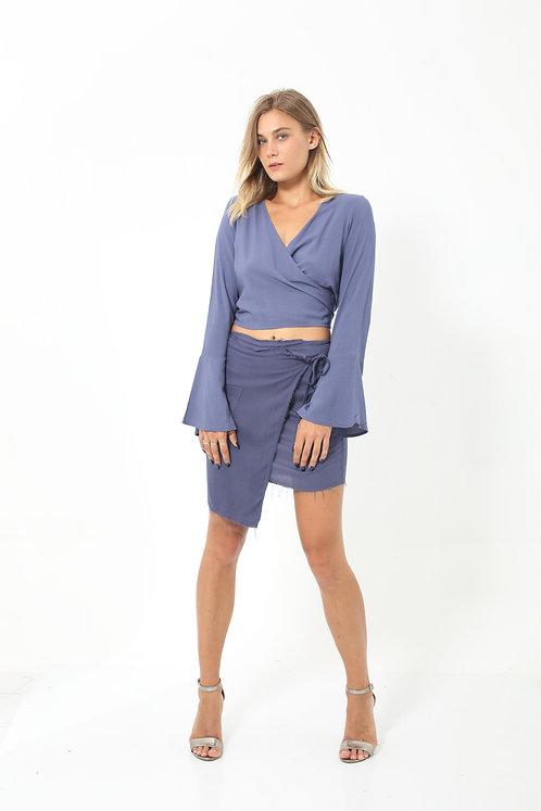 Indigo Mini Wrap Skirt