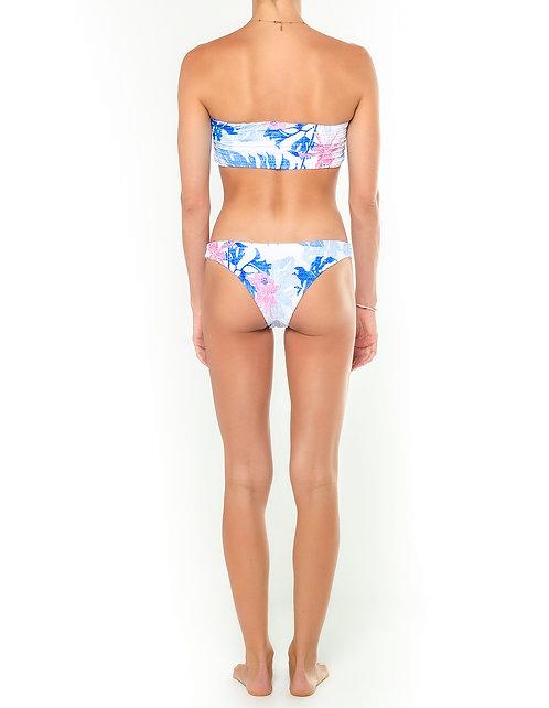 Tropical Blue Shirred Bikini Bottom