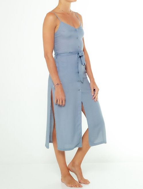 Dusty Blue Side Split Dress