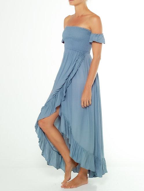 Dusty Blue Off Shoulder Dress