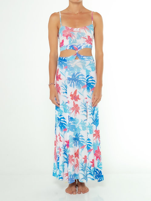 Tropical Blue Tank Twisted Dress