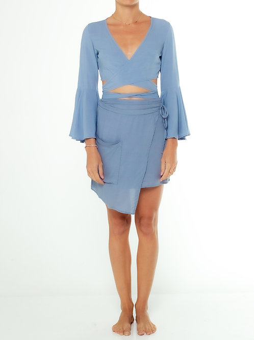 Dusty Blue Wrap Over Top