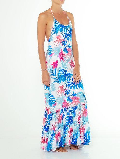 Tropical Blue Halter Dress