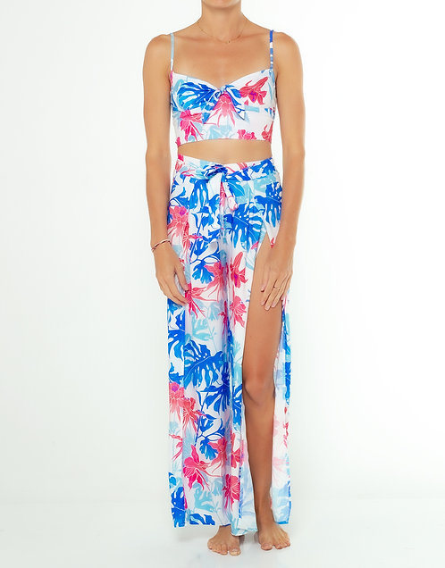 Tropical Blue Wrap Split Pants