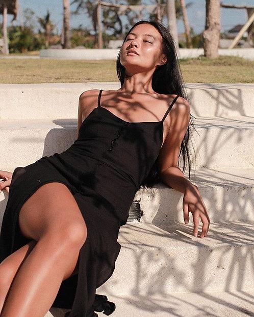 Black Side Split Dress