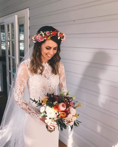 The gorgeous bride, with flower crown an