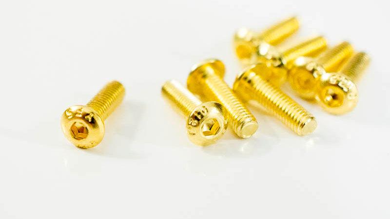 M3x10mm Gold Steel Screws (x8)