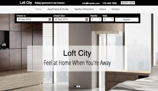 Accommodation website templates –  Urban Holiday Apartments