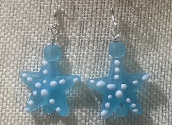 Aqua Blue Starfish Earrings
