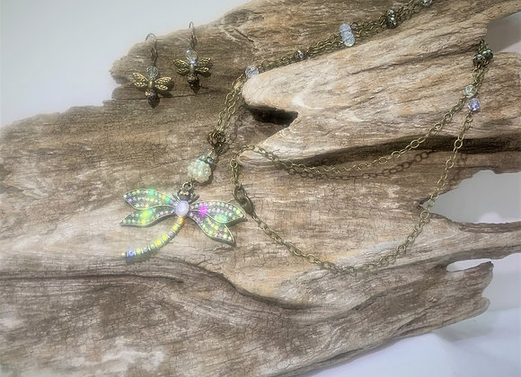Rhinestone Dragonfly Necklace