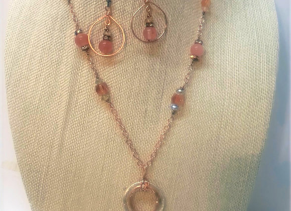 Copper Wire Wrapped Teardrop Jasper Pendant Necklace