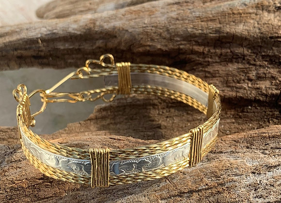Embossed Silver and Brass Wrapped Bracelet