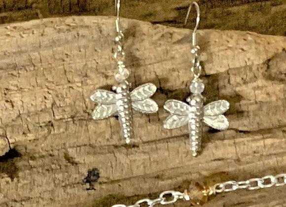 Silvertone Dragonfly Earrings