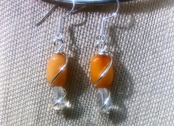 Orange Agate and Crystal Earrings