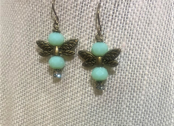 Green Bead Dragonfly Earrings