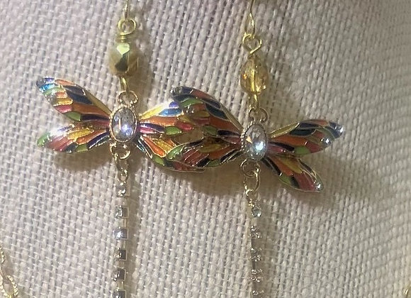 Multicolor Painted Dragonfly Earrings