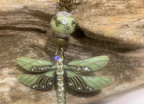Green & Rhinestones Dragonfly Necklace