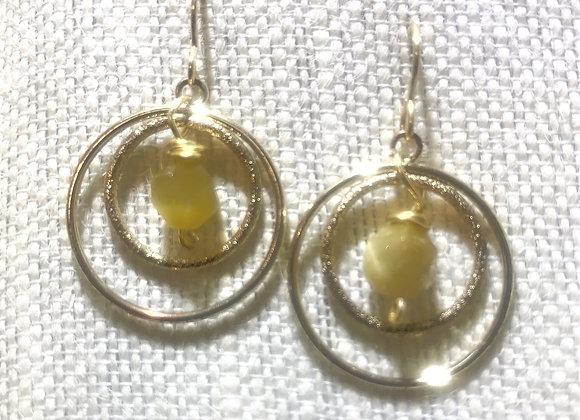 Circles  with Quartz Dangle Earrings