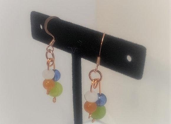 Multicolor Glass Double Drop Earrings