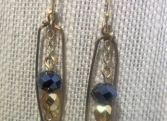 Gold/Black Bead Earrings