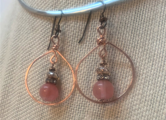 Round Copper Wire Earrings with Drop Bead