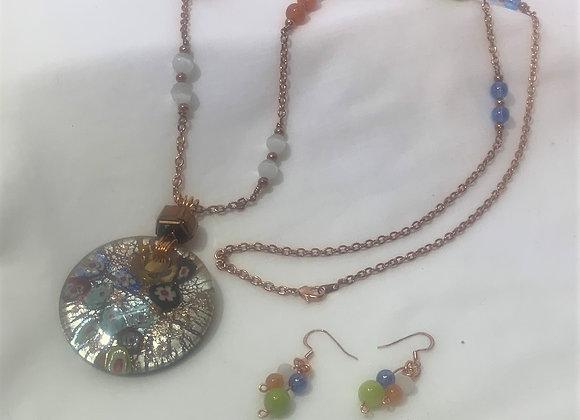 Dichroic Millefiori Pendant Necklace