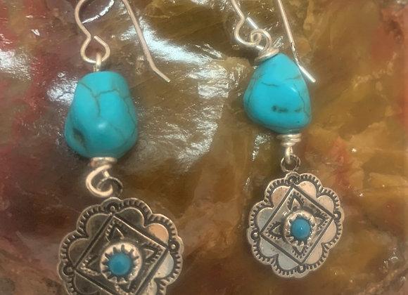 Western Style Turquoise Earrings