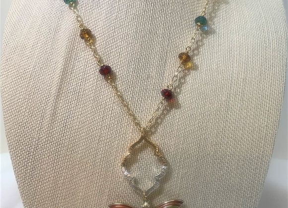 Multicolor Painted Dragonfly Necklace