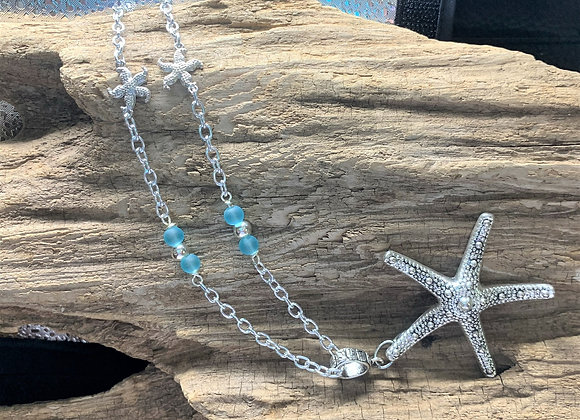Seaglass and Starfish Pendant Necklace