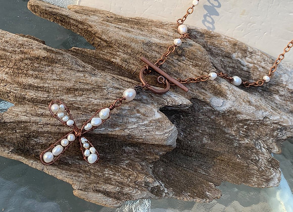 Copper Cross with Fresh Water Pearls Necklace