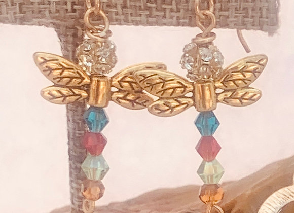 Multicolor Glass Dragonfly Earrings