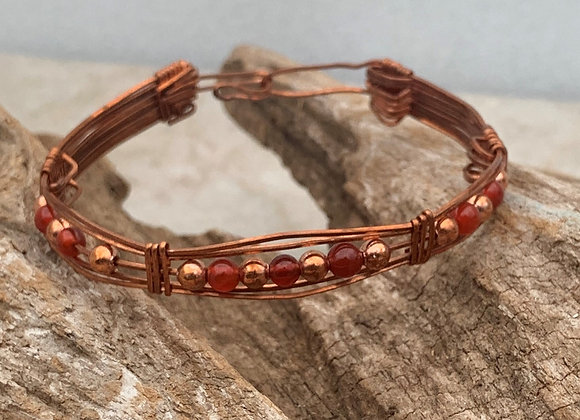 Copper and Carnelian Bead Copper Wrap Bracelet