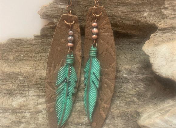 Embossed Leather Leaf Shape Earrings
