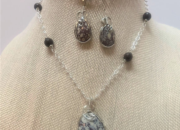 Viper Agate Stone Wire Wrapped on Sterling Silver Chain