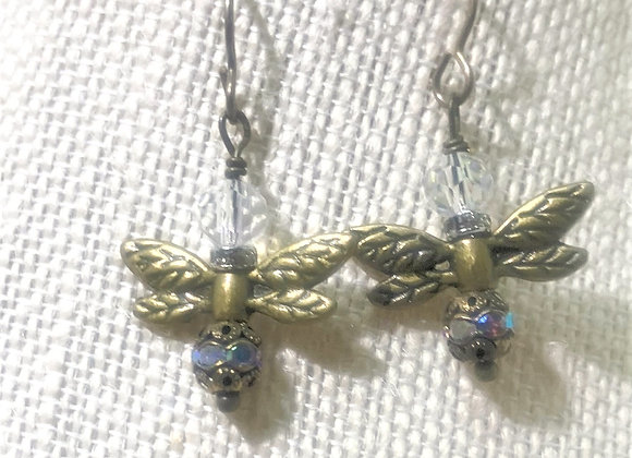 Brass with Aurora Borealis Beads Dragonfly Earrings