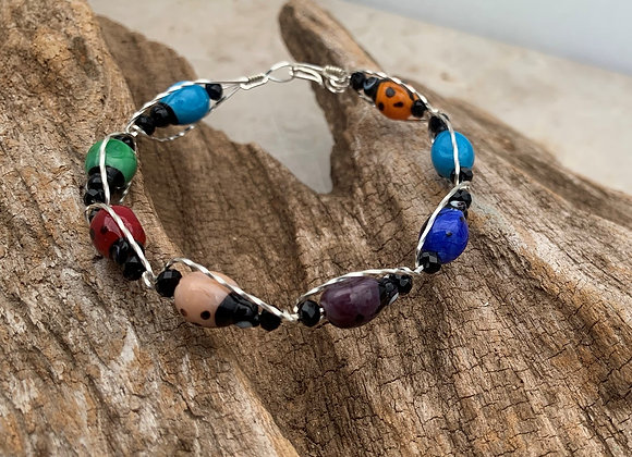Multicolor Lady Bug Sterling Silver Wrapped Bracelet