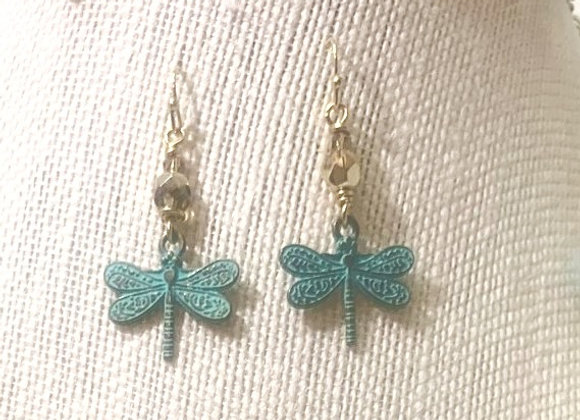 Aqua Dragonfly Earrings